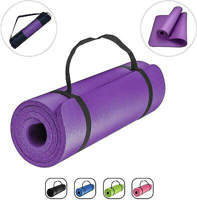 Extra Thick Yoga Mat 15mm Non Slip Exercise Pilates Gym Picnic Camping Straps