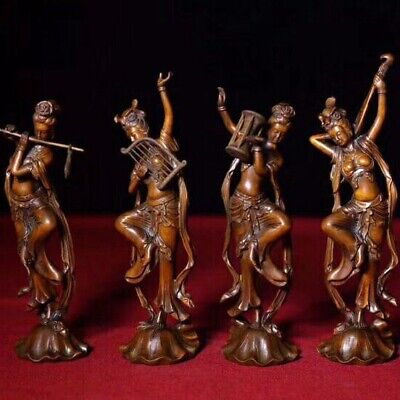 Qainlong Years Collect China Old Boxwood  Hand-Carved 4 Belles Noble Rare Statue
