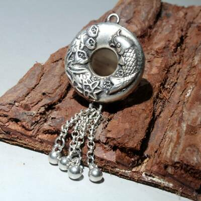 Collectable Old Miao Silver Hand-Carved Fish Hollow Out Auspicious Noble Pendant