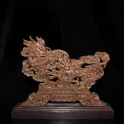 Collect China Handwork Old Boxwood Carve Myth Dragon Auspicious Decorate Statue
