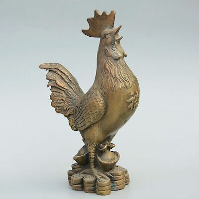 Daming Years Collect China Handwork Old Bronze Carve Chicken Interesting Statue