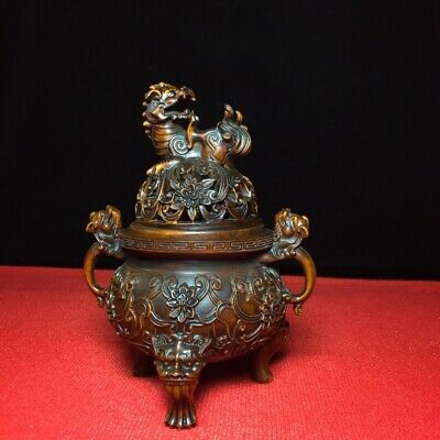 Collectable Chinese Old Boxwood Hand-Carved Myth Dragon Kylin Bring Luck Censer