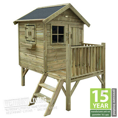 New Childs Wooden Playhouse Childrens Play Tower Wendy House - 15 Yr Warranty*