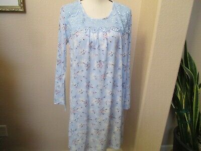 Nwt Adonna Knee Length Delicate Blue Bouquet Nightgown W/ Lace Xl Retail $37.