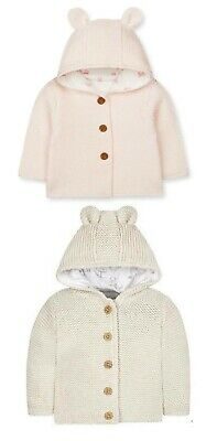 BNWT Mothercare Baby Boys Girls Blue Pink Bear Hooded Knitted Jacket Cardigan