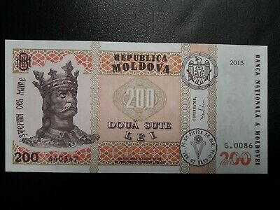 P-26 UNC upgraded 200 Lei Moldova 2015 ex-USSR