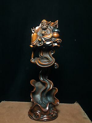Collectable Chinese Old Boxwood Hand-Carved Immortal Bring Luck Exorcism Statue