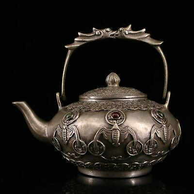 Collect Qianlong Years Old Miao Silver Hand-Carved Bat Moral Bring Wealth Teapot
