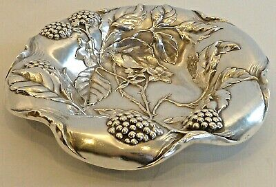 Art Nouveau Style Sterling Small Berry Dish W/ Repousse Berry & Leaf Design