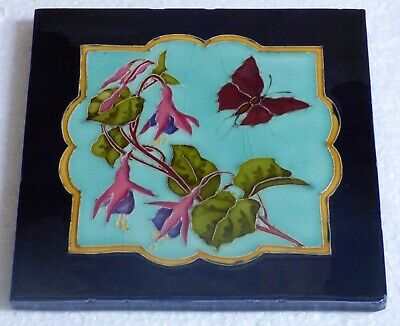 ° Gorgeous & rare Butterfly with flowers Art Nouveau Tile Jugendstil all glazed