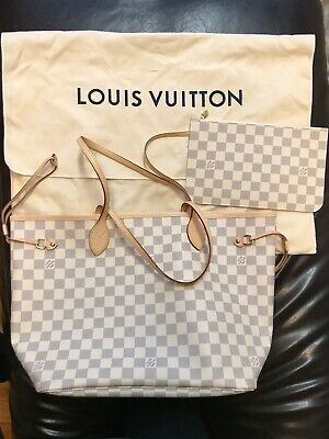 New Authentic Louis Vuitton NEVERFULL MM DAMIER AZUR N41605 tote bag handbags