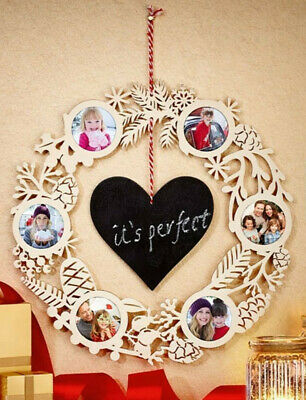 Personalised ~ Wooden ~ Decorative ~ Hanging Picture Frame Wreath ~  *Brand New*