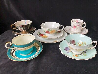 Lot Of 5 Cups & Saucers Bone China Aynsley Royal Grafton Hammersly Nasco Lang