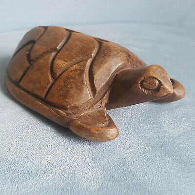 "Hand Carved Sea Turtle Figurine 5.5"" Long Wooden Tortoise Fold Art"