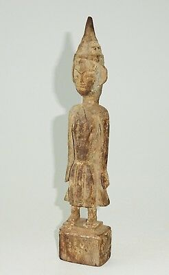 19/20C Northern Laotian Wooden Carved Buddhist Attendant Sculpture (Mil) M569