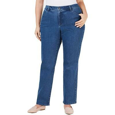 Charter Club Womens Blue Denim Jacquard Straight Leg Jeans Plus 16W BHFO 6916