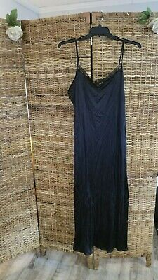 Vintage Nightgown by Petra Fashion Sz 1X Black Nylon With Lace