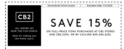 Cb2.Com 15% Off Entire Purchase - Coupon Instore/Online - 7/31/20