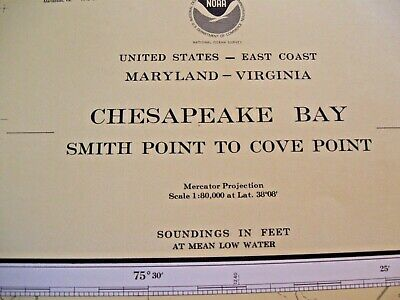 Vintage  Chesapeake Bay Navigational Map Chart No. 12230