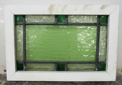 "OLD ENGLISH LEADED STAINED GLASS WINDOW Pretty Greens, 17.25"" x 12"""