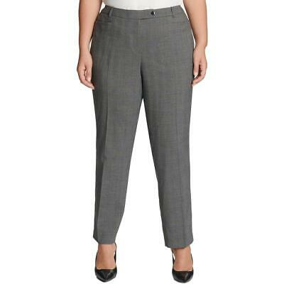 Calvin Klein Womens Gray Glen Plaid Modern Fit Pants Plus 14W BHFO 5218