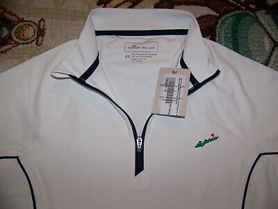 Women's PETER MILLAR 1/4 Zip Pullover Shirt FISHERS ISLAND GOLF CLUB Sz XS White