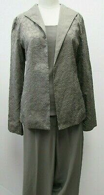NWT Eileen Fisher 3 pc Pantsuit Set Small Stretch Silk Jersey Top, Pants Jacket