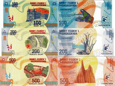MADAGASCAR - Lotto 3 banconote 100/200/500 Ariary 2017 FDS - UNC