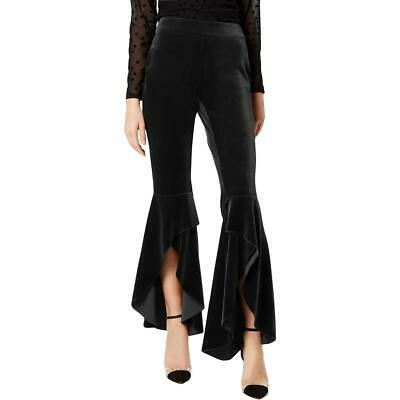 INC Womens Black Velvet Wide Leg Pull On Pants 12 BHFO 8723