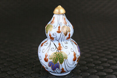 chinese old porcelain hand painting calabash statue snuff bottle