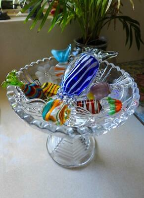 Large sized  Murano Glass Lollies on a Cut Glass Pedestal Dish - Made in Italy