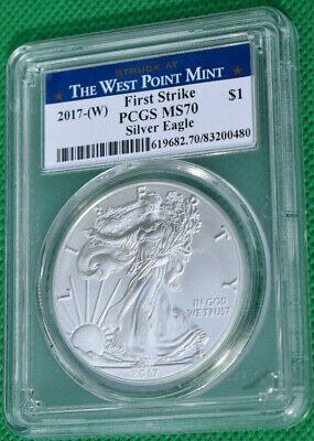 2017 W 1 Oz American Silver Eagle First Strike West Point Label PCGS MS70