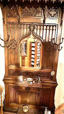 Antique French Gothic Hall Rack, 19th Century