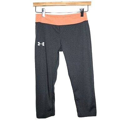 Under Armour Youth Girls Size Large Athletic Crop Leggings Fitted HeatGear Gray
