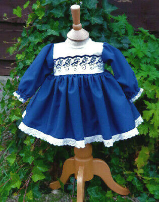 Dream 5-6 Years White And Navy Embroidered Spring Baby Girls  Dress