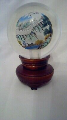 Chinese Inside Hand Painted Crystal Ball Glob On Rotating Wood Stand