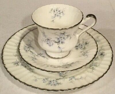 Paragon Bride's Choice Blue Floral Trio - Tea Cup Saucer and Plate