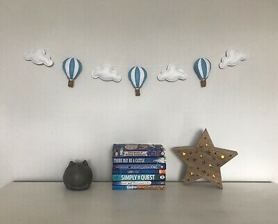 Blue White Baby Nursery Garland Hot Air Balloons Clouds Hanging Decoration Gift