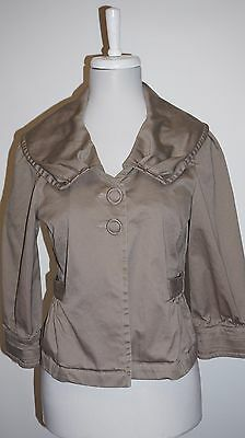 SANCTUARY Clothing Brown-Taupe Crop Chino Jacket Swing Coat Size Large L