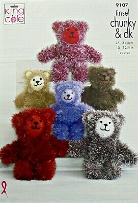 King Cole Chunky Teddy bear Toy Knitting pattern large small 9107
