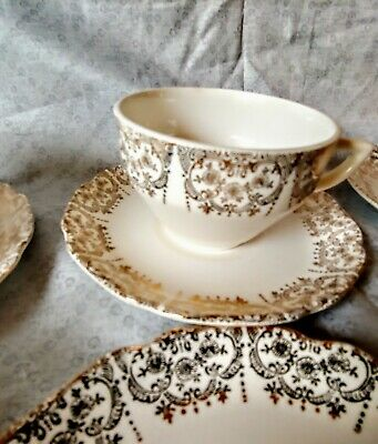 Early Mid Century Retro Antique Fine China Tea Cup And Saucers Limoges 22k Gold