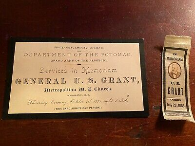 General Grant Memorial Services Ticket And Ribbon