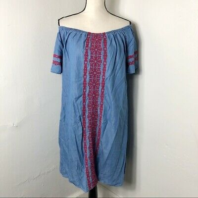 Style & Co Womens L Embroidered Chambray Blue Red Off The Shoulder Shift Dress