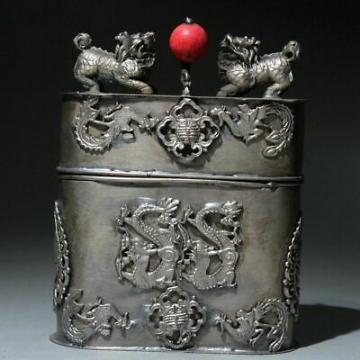 Collectable Old Miao Silver Hand-Carved Phoenix Dragon Beautiful Toothpick Box