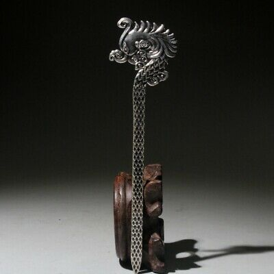 Collectable China Handwork Old Miao Silver Carve Phoenix Beautiful Girl Hairpin