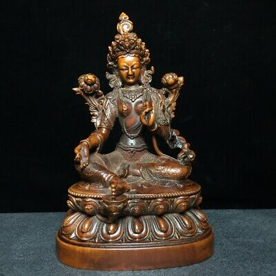 Collectable China Boxwood Hand-Carved Lotus Kwan-Yin Buddhism Auspicious Statue