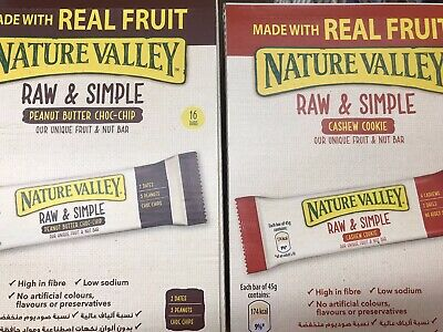 Nature Valley Raw & Simple Fruit Nut Bars Cookie Cashew Peanut Butter Choc Chip