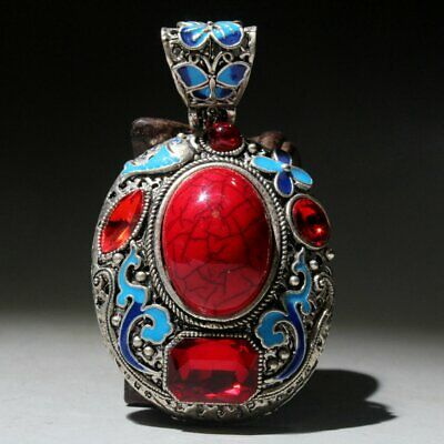 Collectable China Old Miao Silver Mosaic Turquoise Delicate Noble Unique Pendant