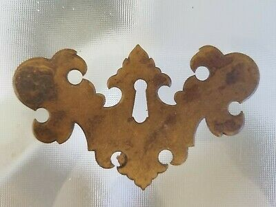 Vintage Brass Chippendale Key Hole Cover Escutcheon Reclaimed Furniture Hardware