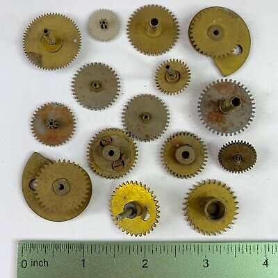 15 Large Clock Gears Watch Part Steampunk Brass Silver Altered Art Craft Lot Vtg
